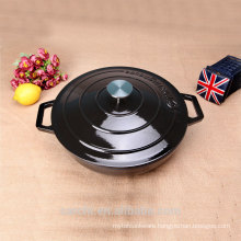 Gloss Black Round Low Casserole Cast Iron Boiler Enamelware