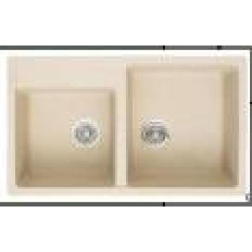 Évier de cuisine de granit de double de cuvettes sanitaires (HB8206)