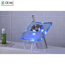 Glas Wasserfall Einhebel-LED-Becken Wasserhahn (QH0801F)