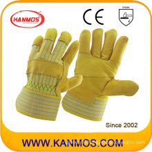 Cowhide Grain Industrial Safety Patched Palm Work Leather Gloves (12002-1)