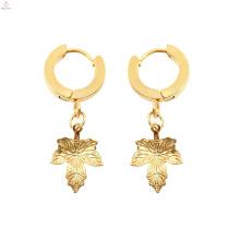 Personalized Huggie Earring Gold Pendant Maple Leaf Earrings