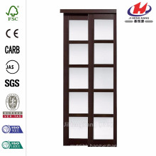 72 in. x 80 in. 2240 Series Composite Espresso 5-Lite Tempered Frosted Glass Sliding Door