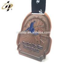 Custom antique copper metal judo sports award medallion with ribbon