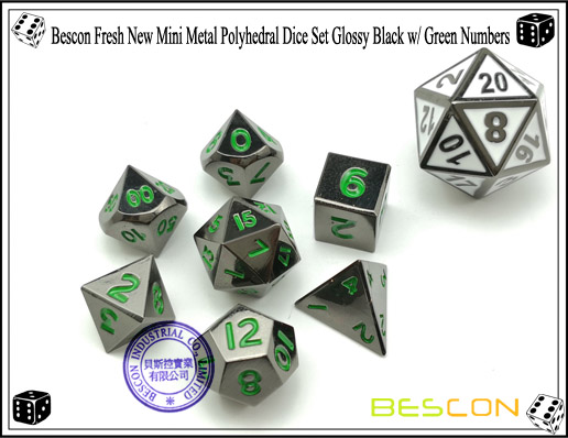 Bescon Fresh New Mini Metal Polyhedral Dice Set Glossy Black with Green Numbers-1