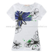 Women's Light Cotton T-shirt with Silkscreen Print, Designs and Brands Can be Customized