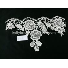 Tecido de renda de algodão branco guipure de alta qualidade para vestidos de damas