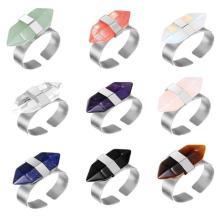 Mạ bạc tự nhiên lục giác lăng kính đá quý hạt nhẫn đính hôn cho phụ nữ