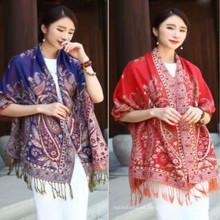 Top vendedor de la moda de las mujeres 180 * 70 otoño invierno otoño jacquard patrones de tejido de algodón bufanda paisley falsos pashmina chales