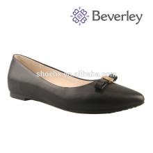2016 Venda Quente de couro Genuíno mais recente moda sapatos de cunha senhora calcanhar preto
