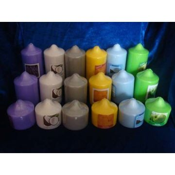 color pressed pillar candle