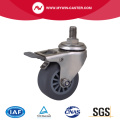 Roestvrij 2 Inch 40Kg Threaded Brake TPE Caster