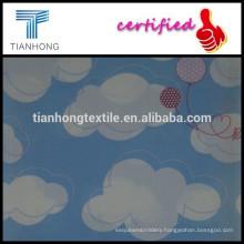 cartoon comic blue sky white cloud and balloon design printed on 100 cotton satin woven technic fabric fot children pajamas