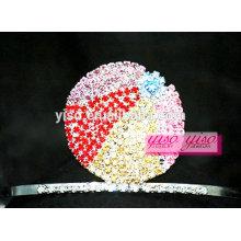 Acessórios de jóias de cabelo de cristal colorido tiara de bola de cristal
