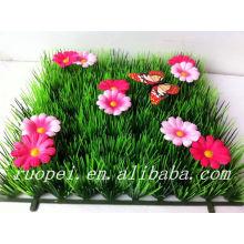2014 Top sell tapis d'herbe artificielle avec papillon et fleurs pour la décoration de jardin