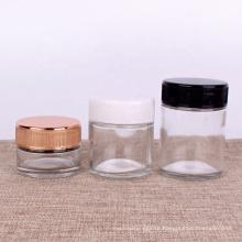 2oz 3oz 4oz clear glass round straight sided jar child resistant lids