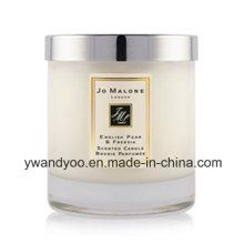 Bougie parfumée givrée en verre blanc de soja avec le couvercle en métal