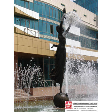 Garden Woman Dancing Fountain Sculpture