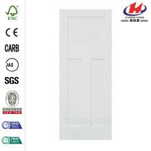 24 in. x 80 in. Craftsman Shaker 3-Panel Primed Solid Core MDF Interior Door Slab