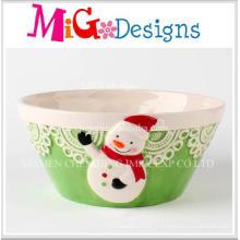 Bacia cerâmica adorável do projeto do boneco de neve do Natal
