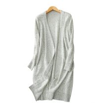Women's elegant sweater coat color dot cashmere yarn knitting thick loose long overcoat