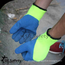 SRSAFETY 7G Acrylic Nappy Knitted gloves with coated latex,winter use working gloves cotton