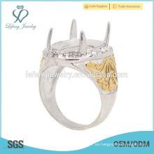 Nuevos anillos de Indonesia de los hombres de la plata y del oro del acero inoxidable del diseño, anillo del hombre