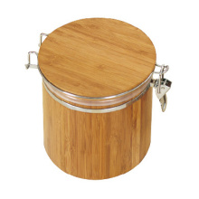 Leading for Bamboo Sealing Box Wood tea sugar coffee canister with airtight lid export to Romania Factory