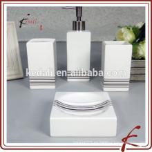 Mini cuadrado de cerámica rosa porcelana conjunto de accesorios de baño