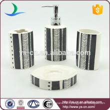 Porte-brosse à dents en céramique blanc et noir 4pcs pour salle de bain