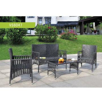 4 PCS Outdoor Patio Steel Profile Wicker Garden Set