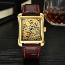 Brown leather golden skeleton mechanical watch