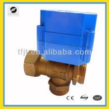 Soupape en laiton de 3 voies de moteur électrique de 6Nm pour des compteurs d'eau de carte d'IC, mètres d'énergie de chauffage et réutilisation du système d'eau de pluie