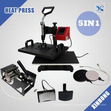 Combo Heat Press 5 In 1 Cap Press, Mug Press, T Shirt Press Machine Sublimation