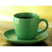 Taza de café y platillo de porcelana promocional color verde Glaz