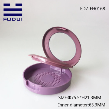 Cute round shape plastic compact powder blush case