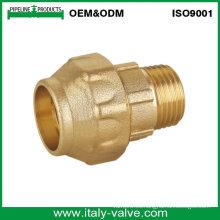 Acoplamiento de la pipa del PE del macho del final de la compresión de cobre amarillo de calidad superior (IC-7004)