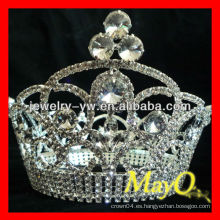 Belleza Rhinestone Reina corona de concurso para la venta, corona completa de cristal redondo, coronas gran concurso