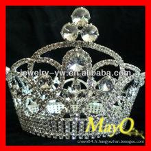 Beauty Rhinestone Reine courte concours à vendre, pleine couronne ronde en cristal, grandes couronnes rondes