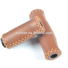 Vintage Bike Grips Brown retro bicycle Grip 90 / 127MM ultralight Retro leather bike grip