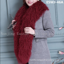 Long Pile Natural Mongolian Fur Scarf Eswj-46A