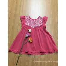 robe en viscose de dentelle de crochet de couleur unie décontractée