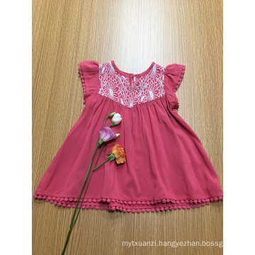 casual solid color crochet lace girls viscose dress