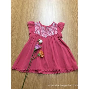 cor sólida casual crochet lace meninas vestido viscose