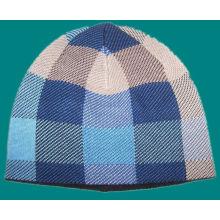 Patrón hecho a cuadros de punto tejido sombrero con polar interior (1-2543)