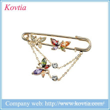2015 Hot sale cheap costume jewelry colorful crystal and zircon pin brooch in stock