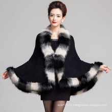 Lady Fashion Space Dyed Faux Fur Winter Knitted Shawl (YKY4466-1)
