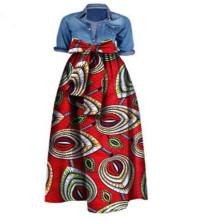 ethnic slim fit flora printed African fashion clothing high waist A line cotton wax Dashiki ball gown women long swing skirt