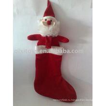 фаршированные Рождество Санта чулок Рождество носки украшение подарок игрушка