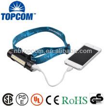 Lampe de poche USB 6 LED avec chargeur de téléphone mobile