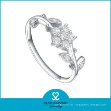 El anillo de compromiso más nuevo de la plata esterlina de la manera (SH-R0205)